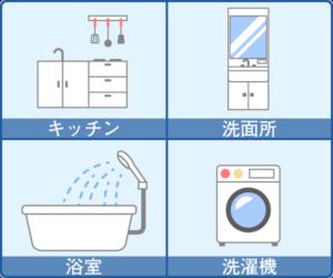 高圧洗浄するべき排水管(キッチン・洗面所・浴室・洗濯機)