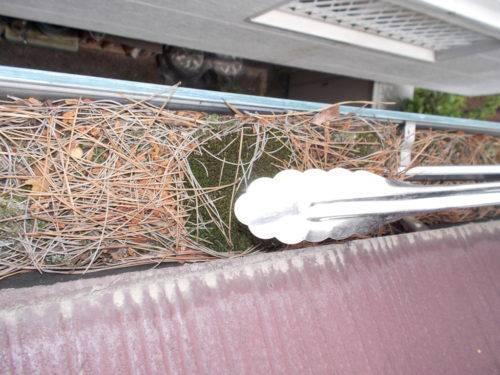 雨樋に横樋に積み重なったゴミを取り除く様子