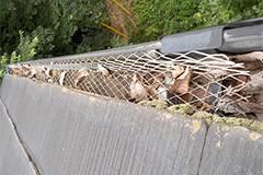 防護ネットが張られても詰まった状態の雨樋