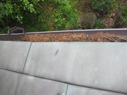 落ちてきた枯葉で雨樋が詰まった状態
