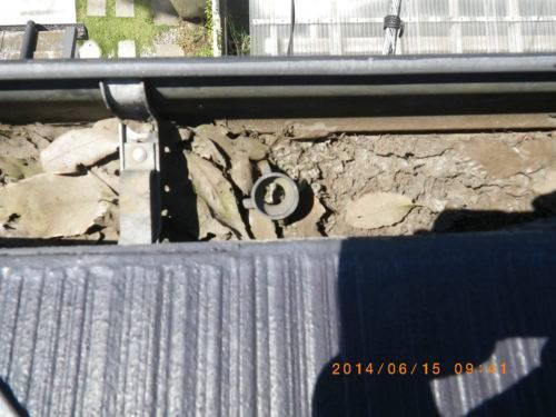 詰まりや汚れが目立つ雨樋(防護ネットを外した状態)