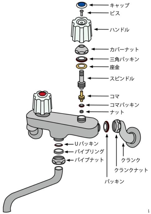 蛇口 ツーバルブタイプの部品構造