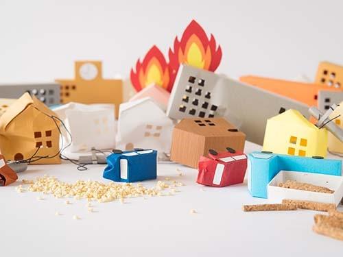 折り紙の街 火災中