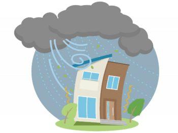 風雨の住宅イラスト