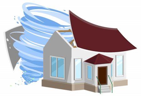台風と家イラスト