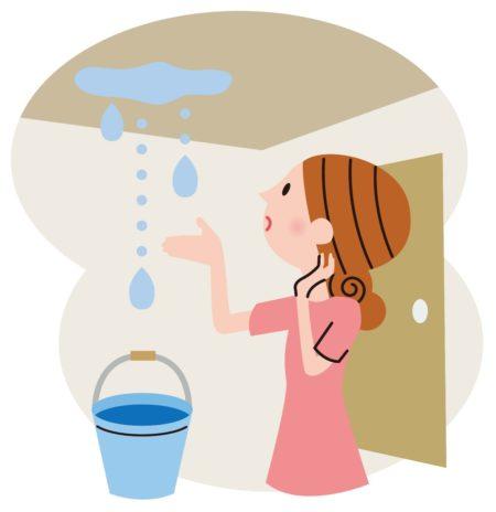 雨漏り見つめる女性イラスト